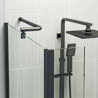 Orchard L shaped left handed shower bath with 6mm matt black shower screen 1500 x 850