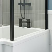Orchard L shaped right handed shower bath with 6mm matt black shower screen 1500 x 850
