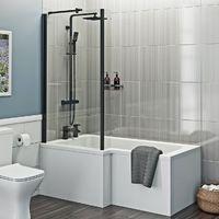 Orchard L shaped left handed shower bath with 6mm matt black shower screen 1700 x 850