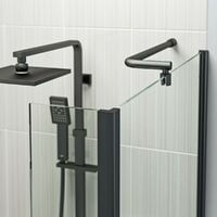 Orchard L shaped right handed shower bath with 6mm matt black shower screen 1700 x 850