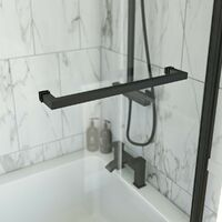 Orchard L shaped right handed shower bath with 6mm matt black shower screen with rail 1700 x 850