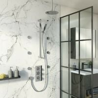 Mode Tate thermostatic mixer shower with ceiling shower, slider rail and body jets