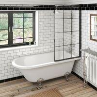 Orchard Dulwich freestanding shower bath with 8mm black framed shower screen 1710 x 780