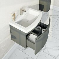 Mode Harrison slate gloss grey wall hung vanity unit and basin 600mm with tap