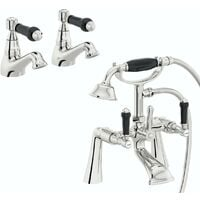 Orchard Winchester black handle basin and bath shower mixer taps pack