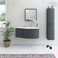 Mode Harrison slate gloss grey right handed wall hung vanity unit and basin 1000mm with tap