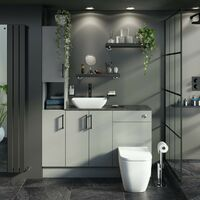 Reeves Wyatt light grey tall fitted furniture combination with mineral grey worktop and countertop basin