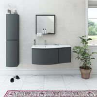 Mode Harrison slate gloss grey left handed wall hung vanity unit and basin 1000mm