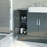 Reeves Nouvel gloss grey small fitted furniture combination with pebble grey worktop