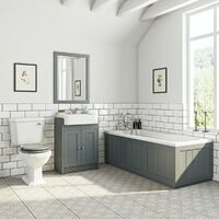 Orchard Dulwich stone grey furniture suite with straight bath 1700 x 700mm