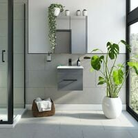 Orchard Derwent stone grey wall hung vanity unit with black handle and ceramic basin 420mm