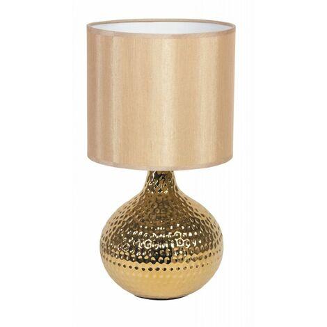 Lampada Da Tavolo Oro Con Fusto Dalla Superficie Irregolare 40 Watt E14