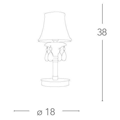 Lampada Da Tavolo Trasparente Con Finiture Oro 40 Watt E14