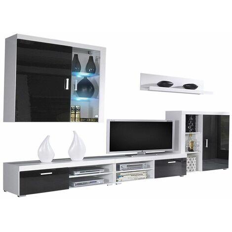 Mueble comedor, salon moderno con Leds, acabado en Negro Brillo Lacado y Blanco Mate, medidas: 290x200x45 cm de fondo - NEGRO