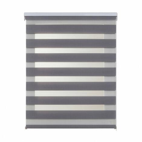 Estor Noche y Día, enrollable traslúcido doble tejido, Plata 60 x 180cm