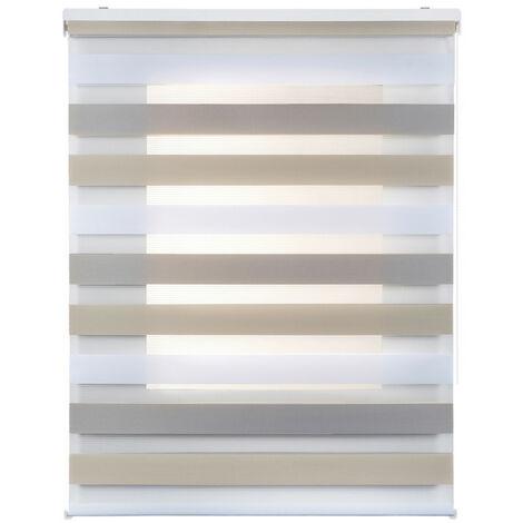 Estor Noche y Día, enrollable traslúcido doble tejido, Tricolor  60 x 180cm