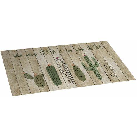 Alfombra Cactus, de vinilo acolchado, anideslizante y lavable, ideal para cocina, dormitorio, salón…, 50 x 110cm