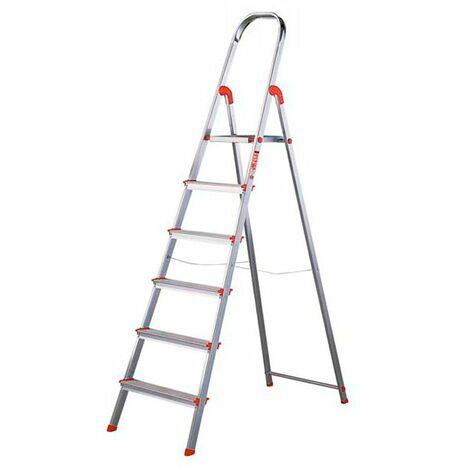 Escalera de aluminio 6 peldaños anchos