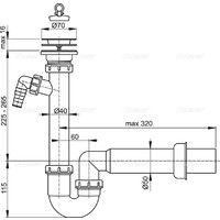 Vidage d'évier avec panier inox Ø70mm et sortie machine à laver / lave-vaisselle