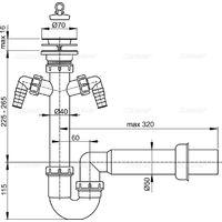Vidage d'évier panier inox Ø70mm avec 2sorties machine à laver / lave-vaisselle