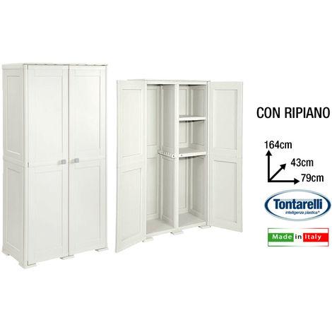 Armadio Mobile Armadietto Porta Scope Giardino Balcone Con Ripiani Panna
