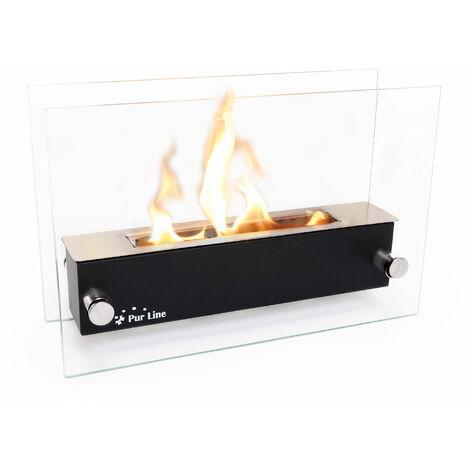 Cheminée bioéthanol de table en inox avec pare feu en verre trempé thermorésistant - Noir