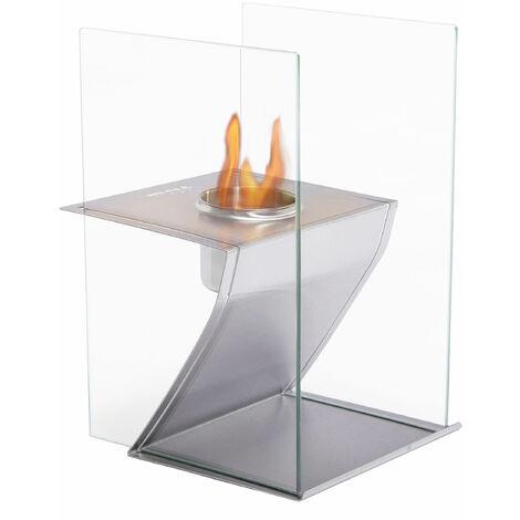 Cheminée de table en inox brossée, et pare feu en verre trempé thermorésistant