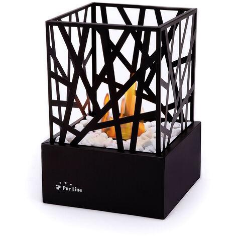 Cheminée bioéthanol de table moderne et design avec corps en acier émaillé noir