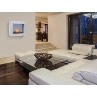 Cheminée à l'éthanol gris à installer au sol ou au mur avec des bûches décoratives - #dfdedd