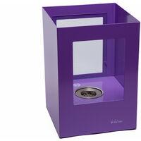 Grosse cheminée bioéthanol en acier laqué violet avec deux vitres en verre trempé thermorésistant - Violet