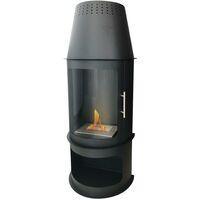 Chauffage pour terrasse haute teneur en bioéthanol avec porte vitrée - Noir