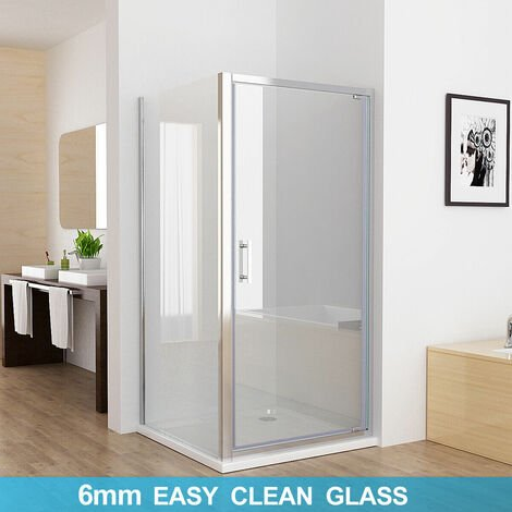 800 x 700 mm PAP Pivot Shower Enclosure Door 6mm Safety Nano Glass Shower Cubicle with 700 mm Side Panel - No Tray