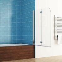 MIQU Shower Screen 2 Fold Folding Bath Screen 180° Hinge Door Panel 6mm Easy Clean Glass (900x1400mm)