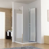 1000 x 900 mm MIQU Shower Enclosure Cubicle Door with 900 mm Side Panel 6mm Easy Clean NANO Glass Bifold Door - No Tray