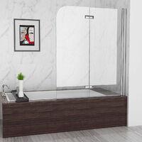 MIQU 2 Fold Folding Shower Screen Bath Screen 180° Hinge Door Panel 6mm Easy Clean Glass (900x1400mm)
