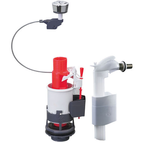 Mécanisme de WC double chasse à commande à câble + robinet flotteur servo-valve latéral - mw²90 meca economie d'eau - Wirquin - 14013401