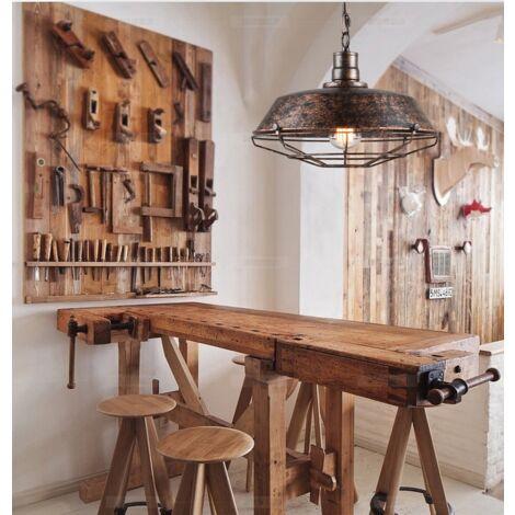 Suspension Ext/érieure Boule Rustique Vintage en Aluminium Verre Suspendu Globe IP44 E27 pour Jardin Terrasse Maison de Campagne Imperm/éable Plafonnier couleur Noire