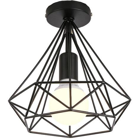 Luminaire plafonnier industriel forme diamant 25cm lustre abat-jour E27 pour Salon Cuisine Chambre Entrée, Noir