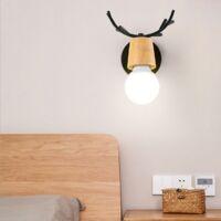 Lot de 2 Rétro Applique Murale Simple Créatif Lampe de Mur Fer et Bois E27 Base Tête de Cerf Nordique Style Art Déco pour Chambre, Salon, Chambre d'enfants, Restaurant, Couloir, Escaliers,Noir