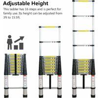 Échelle télescopique de 4.7m en aluminium , Multifonction échelle télescopique élevée d'échelle de loft de but télescopique noir
