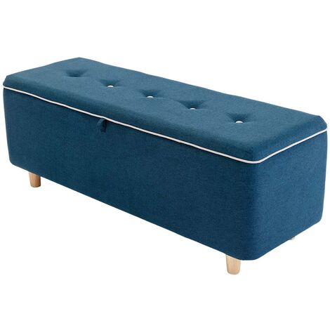 JOEL LINEN STORAGE OTTOMAN BENCH CHEST BEDROOM LIVINGROOM FOOTSTOOL w BUTTONS BLUE