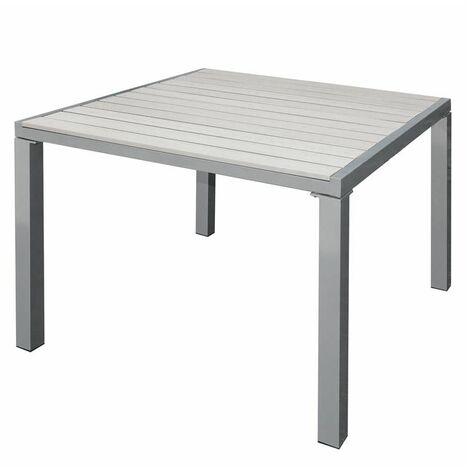 Wpc Gartentisch Terrassentisch Balkontisch Alu Esstisch Tisch Holz Optik Beige 90x90x72cm