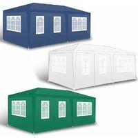 Pavillon Partyzelt Gartenzelt Gartenpavillon Camping Festzelt Seitenwände Blau / 300x600x240cm mit 4 Wänden