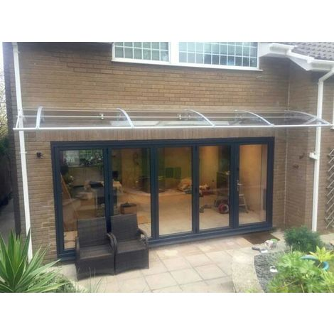 CANOFIX Door Canopy PC 3500 Width x 1500 Projection / DIY Polycarbonate Cantilever Awning/Window Door Pathway Walkway Garden Shed Porch Patio (Grey Bracket - Clear Sheet)