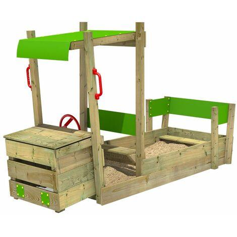 FATMOOSE PowerPulley Sandkasten Kinder Buddelkiste Sandkiste mit Sitzbank Garten Sandbox