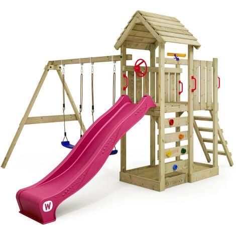 WICKEY Spielturm Klettergerüst MultiFlyer Holzdach mit Schaukel & violetter Rutsche, Kletterturm mit Holzdach, Sandkasten, Leiter & Spiel-Zubehör