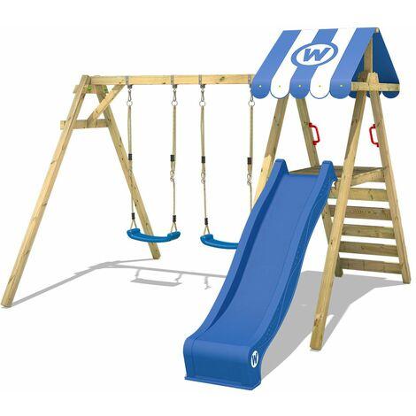 WICKEY Kinderschaukel Schaukelgestell Smart Ace mit blauer Rutsche Schaukel, Schaukelgerüst, Doppelschaukel, Holzschaukel