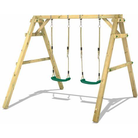 WICKEY Portique balançoire Aire de jeux Sky Dancer Prime avec extension d'escalade Portique bois pour enfants