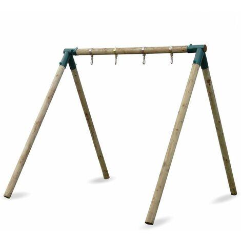 WICKEY Portique balançoire Aire de jeux Moonwalker avec extension d'escalade Portique bois pour enfants