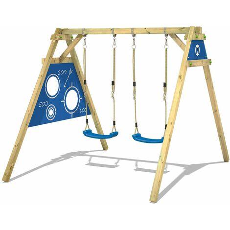 WICKEY Portique balançoire Aire de jeux Smart Score avec extension d'escalade Portique bois pour enfants